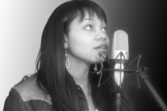 Latoya Williams Black and White Promo Photo with Studio Vocal Mic